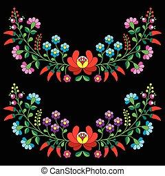 Hungarian floral Kalocsai pattern - Vector background -...