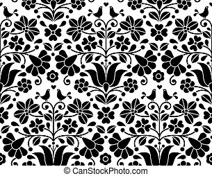 Vector background - monochrome traditional pattern from Hungary isolated on white with flowers and birds