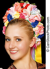 Traditional hungarian folk dancer wearing costume and headpiece