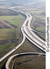 Hungarian highway - Hungarian m0 highway aerial view