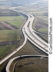 Hungarian highway - Hungarian m0 highway aerial view