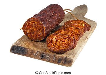 Hungarian homemade salami - Hungarian homemade paprika...