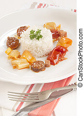 hungarian letcho with rice on a plate