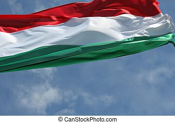 hungarian national flag in the wind
