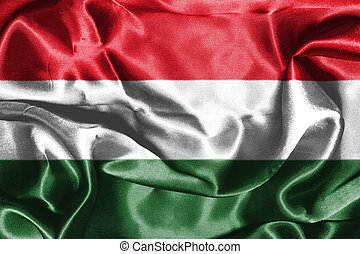 Hungarian National Flag Waving in the Wind 3D illustration