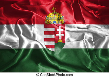 Hungarian National Flag With Coat Of Arms Waving In The Wind Grunge Looking 3D illustration