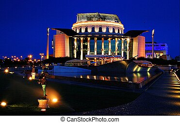 Hungarian national theatre by night.