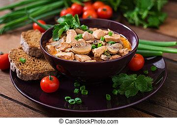 Hungarian paprikas (goulash) chicken with mushrooms