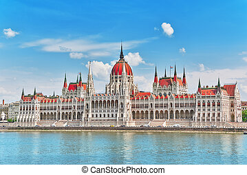 Hungarian Parliament at daytime. Budapest. View from Danube riverside. Hungary