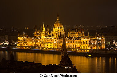 Hungarian Parliament Budapest by night