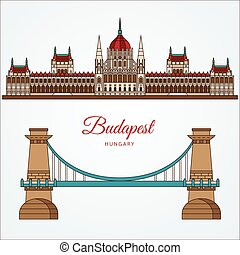 Hungarian Parliament Building and the Chain Bridge. The...