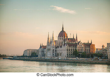 Hungarian Parliament building in Budapest early in the...