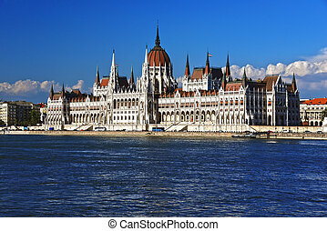 Hungarian Parliament Building on the bank of the Danube in Budapest.