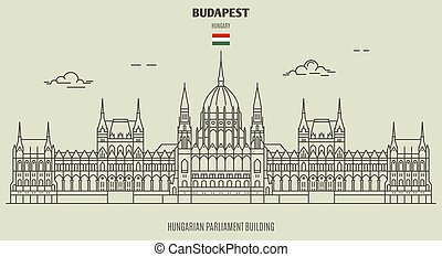 Hungarian Parliament Building in Budapest, Hungary. Landmark icon in linear style