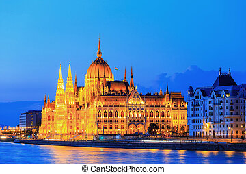 Hungarian Parliament Building in Budapest, night view