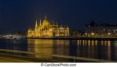 Hungarian Parliament Building on the bank of Danube river