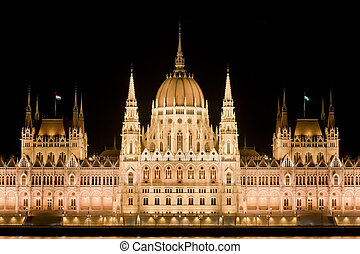 Hungarian Parliament by night in Budapest