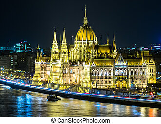 Hungarian parliament by night