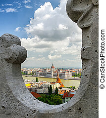 Hungarian parliament from Fisherman's bastion in Budapest
