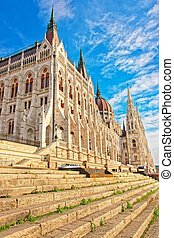 Hungarian Parliament house in Budapest sunny