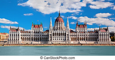 Hungarian parliament building by Danube river. Budapest, Hungary