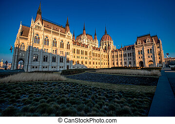 Hungarian parliament in the morning in Budapest. Back view.