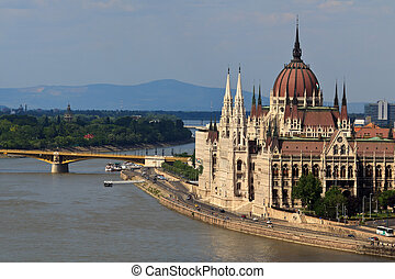 The hungarian parliament next to the danube in Budapest, Hungary