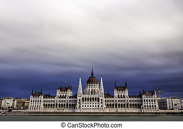 view of the hungarian parliament next to river Danube