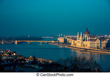 Hungarian parliament with Margaret bridge view