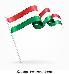 Hungarian pin wavy flag. Vector illustration. - Hungarian...