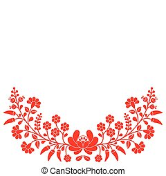 Hungarian red floral folk pattern - Vector background - ...