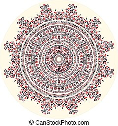 Hungarian round ornament 5 - Traditional Hungarian round...