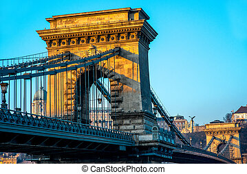 Hungarian Szechenyi Chain Bridge early in the morning in Budapest