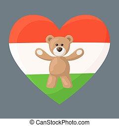 Hungarian Teddy Bears - Teddy Bears with heart with flag of ...