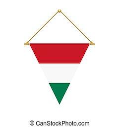 Hungarian triangle flag hanging, vector illustration - Flag...