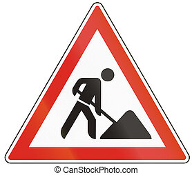 Hungarian warning road sign - road works.