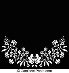 Hungarian white floral folk pattern