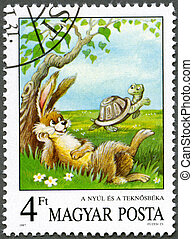 HUNGARY - 1987: shows the Tortoise and the Hare, Aesop's...