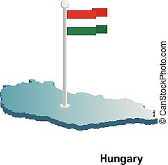 Hungary 3d vector map with national flag
