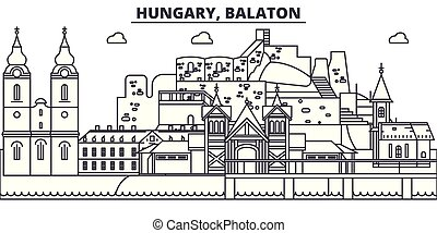 Hungary, Balaton line skyline vector illustration. Hungary, Balaton linear cityscape with famous landmarks, city sights, vector landscape.