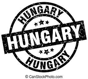 Hungary black round grunge stamp