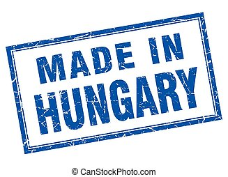 Hungary blue square grunge made in stamp