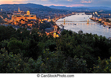 Hungary, Budapest, Castle Hill and Castle. City View