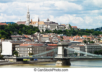hungary, budapest chain bridge - fishermen's bastion, chain...