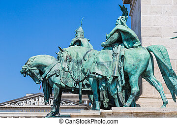 Hungary, Budapest Heroes' Square in the summer on a sunny day