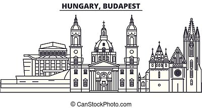 Hungary, Budapest line skyline vector illustration. Hungary,...