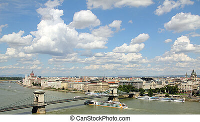 Hungary, Chain Bridge and Danube river and Parliament in Budapest