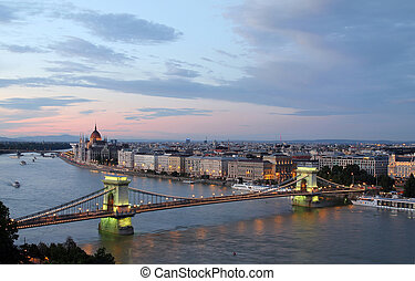 Hungary, Chain Bridge and Danube river in Budapest in evening