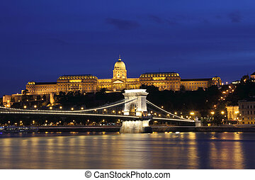 Hungary,  Chain Bridge, Royal Palace and Danube river in Budapest at night.