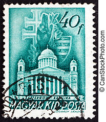HUNGARY - CIRCA 1939: a stamp printed in the Hungary shows The Primatial Basilica of the Blessed Virgin Mary Assumed into Heaven and St. Adalbert, Esztergom, Budapest, circa 1939